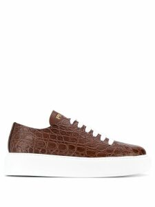 Prada embossed lace-up sneakers - Brown