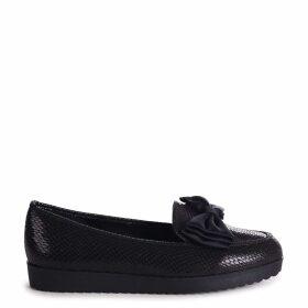 CARRI - Black Lizard Chunky Slip On Shoe with Fabric Bow