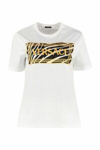 Versace Logo Embroidery Cotton T-shirt