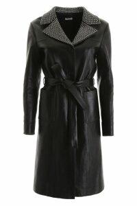 Miu Miu Leather Coat With Crystals