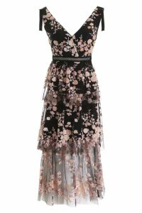 self-portrait Floral Mesh Midi Dress