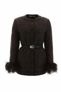 Miu Miu Puffer Jacket With Ostrich Feathers