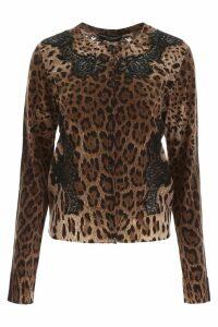 Dolce & Gabbana Animalier Cardigan With Lace