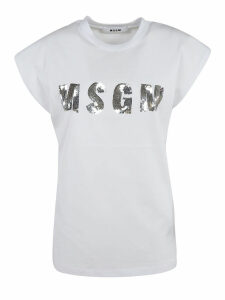 MSGM Sequined Logo Detail T-shirt