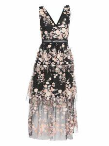 self-portrait Sleeveless Midnight Floral Mesh Dress