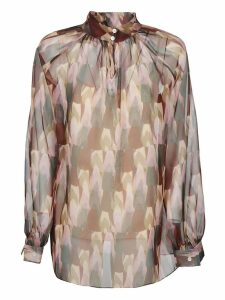 Mulberry Patterned Sheer Blouse