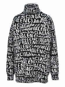Balenciaga Wave Logo Turtle Neck Sweater