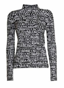 Balenciaga Logo Wave Turtleneck Sweater