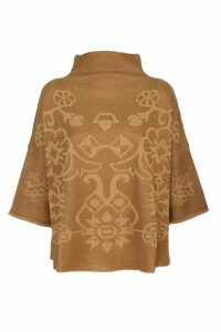 Etro knit poncho with high collar