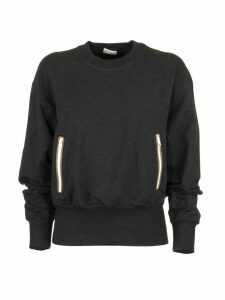 Brunello Cucinelli Anthracite Crewneck Sweatshirt With Contrasting Zip Pockets