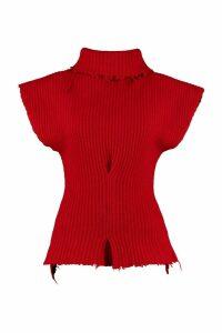 Ben Taverniti Unravel Project Ribbed Wool Turtleneck Sweater