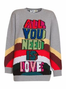 Stella Mccartney Oversize Wool Pullover With All You Need Is Love Inlay Stella Mccartney Pullover Oversize In Lana Con Intarsio All You Need Is Lov