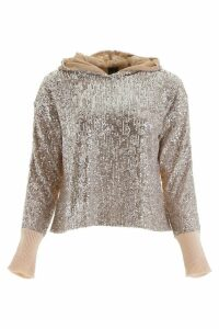 Pinko Knit Hoodie With Sequins