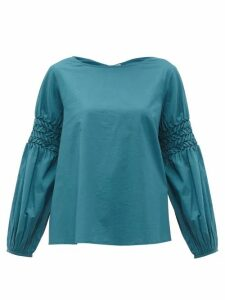 Merlette - Miombo Smocked-sleeve Cotton-poplin Blouse - Womens - Blue