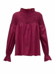 Merlette - Majorelle Smocked Cotton Blouse - Womens - Burgundy