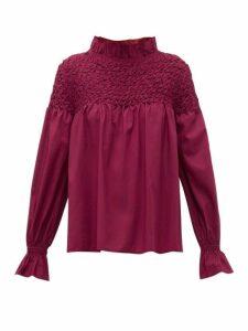 Merlette - Majorelle Smocked Cotton Blouse - Womens - Burgundy