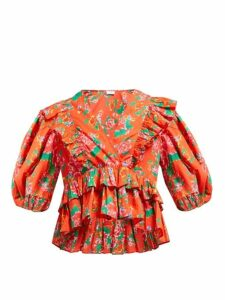 Rhode - Elodie Floral-print Cotton-voile Blouse - Womens - Red Print