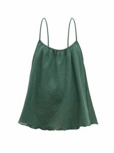 Loup Charmant - Scoop Cotton Matelassé Cami Top - Womens - Green