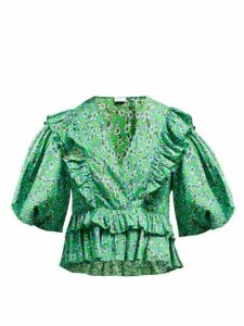 Rhode - Elodie Floral-print Cotton-voile Blouse - Womens - Green Print