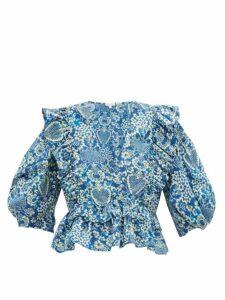 Rhode - Elodie Floral-print Cotton-voile Blouse - Womens - Blue Print