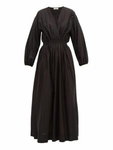 Matteau - The Long Sleeve Crossover Midi Dress - Womens - Black