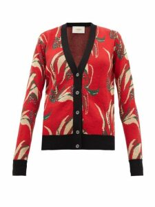 La Doublej - Windy Flower Jacquard Wool Blend Cardigan - Womens - Red Multi