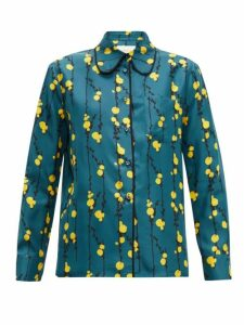 La Doublej - Rodeo Floral-print Silk-twill Shirt - Womens - Green Print