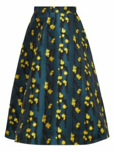 La DoubleJ - Floral-jacquard High-waisted Midi Skirt - Womens - Green Print