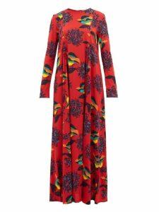 La DoubleJ - Trapezio Floral-print Crepe Dress - Womens - Red