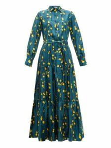 La DoubleJ - Bellini Floral-print Silk-twill Tiered Shirt Dress - Womens - Green Print