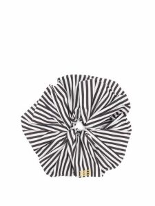 Hillier Bartley - Logo-embroidered Striped Satin Scrunchie - Womens - Black White