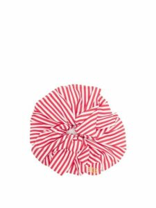 Hillier Bartley - Logo-embroidered Striped Poplin Scrunchie - Womens - Red White