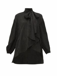 Chloé - Crinkled Flower-jacquard Pussy-bow Blouse - Womens - Black
