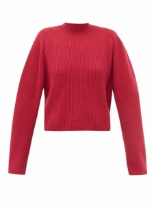 Chloé - Ribbed Knit Wool Blend Sweater - Womens - Dark Pink