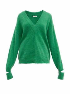 Tibi - Airy V-neck Alpaca-blend Sweater - Womens - Green