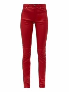 Saint Laurent - Slim Fit Leather Trousers - Womens - Red