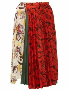 Toga - Contrast-print Pleated Midi Skirt - Womens - Ivory