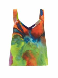 Raey - Neon Tie-dye Print Silk Cami Top - Womens - Multi