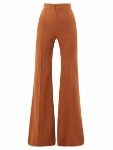 Chloé - High-rise Wool-blend Flared Trousers - Womens - Brown