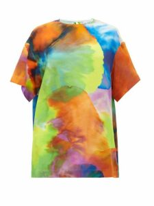 Raey - Long-line Neon Tie-dye Print Silk Top - Womens - Multi