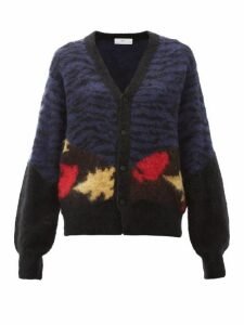 Toga - Abstract-jacquard Cardigan - Womens - Navy