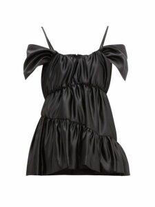 Simone Rocha - Tiered Off-the-shoulder Cap-sleeve Satin Top - Womens - Black