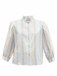 Loewe - High-neck Striped Silk-satin Blouse - Womens - Pink Multi