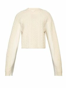 Chloé - Cropped Cable Knit Sweater - Womens - Ivory