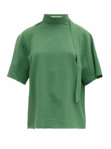 Tibi - Chalky Tie-neck Crepe Top - Womens - Green