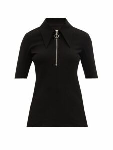 Tibi - Point Collar Crepe Top - Womens - Black