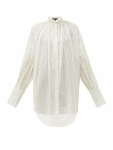 Ann Demeulemeester - Oversized Balloon Sleeve Striped Cotton Shirt - Womens - Ivory
