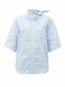 Toga - Tie Neck Cotton Shirt - Womens - Light Blue