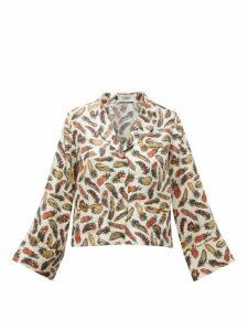 La Prestic Ouiston - Feather-print Silk-twill Pyjama Blouse - Womens - White Multi