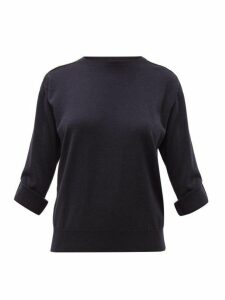 Brunello Cucinelli - Grosgrain-appliqué Cashmere Sweater - Womens - Dark Blue